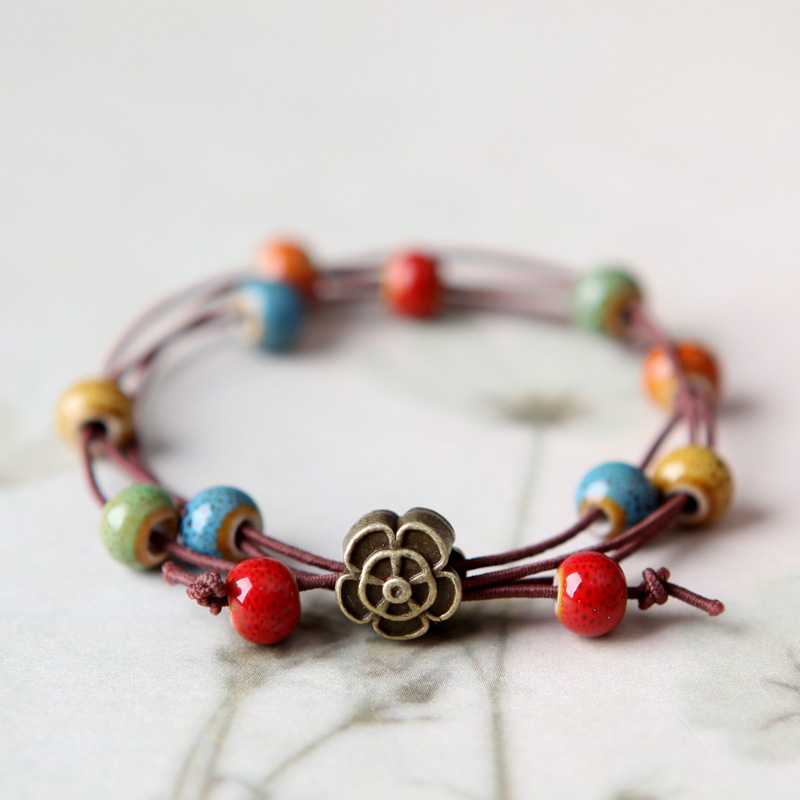 QingGe ceramic beads bracelet female han edition contracted student couples with national wind 's girlfriends after stall supply of goods