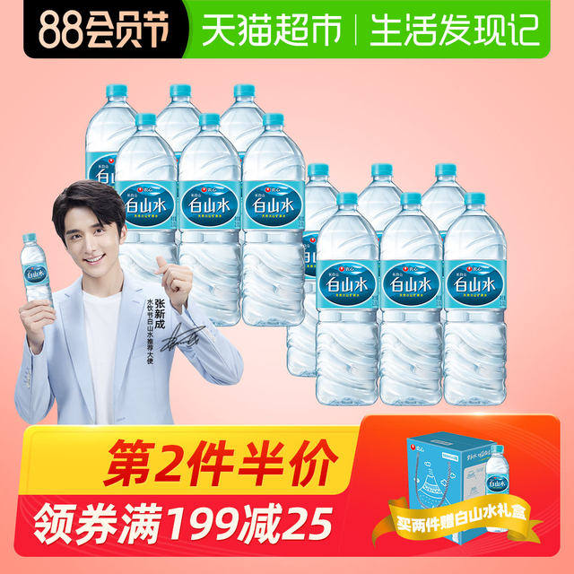 Nongshim Baishan Water Natural Drinking Pure Mineral Jelly Baby Water 2L*6 Bottles*2 Boxes