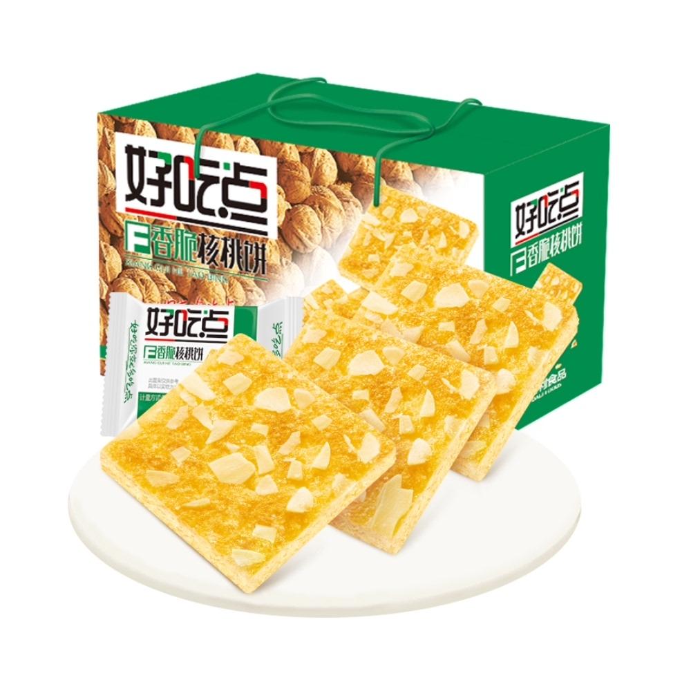 好吃点香脆核桃饼800g休闲早餐下午茶代餐薄脆零食小吃食品网红
