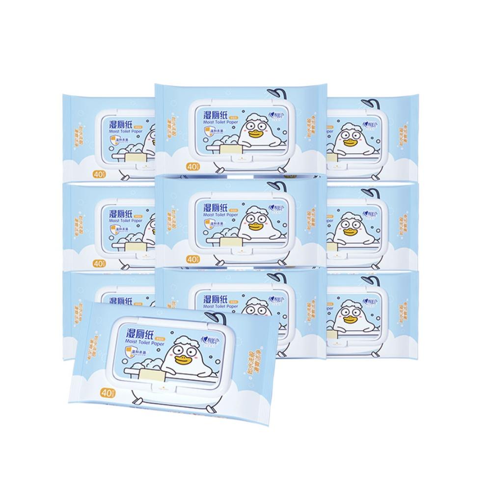 心相印小刘鸭湿厕纸卫生湿巾湿纸巾40片10包私处护理清洁抑菌