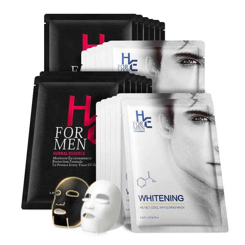 赫恩男士专用备长炭吸附净爽美白面膜24片组合装补水清洁保湿控油