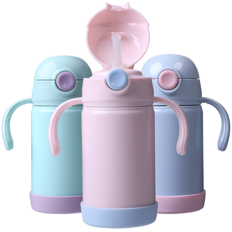 Face儿童保温杯防摔手柄吸管杯宝宝婴儿学饮杯316不锈钢儿童水壶