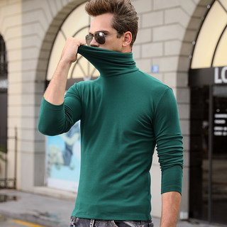 Autumn and winter men's long-sleeved T-shirt high-neck bottoming shirt Pure cotton solid color Slim autumn clothes T-shirt tops tights