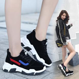 内增高女鞋绒面跑步鞋厚底鞋