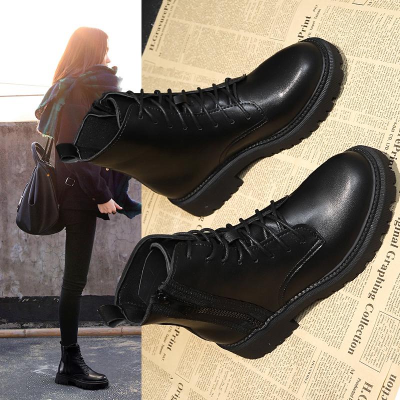 马丁靴女英伦风2020新款百搭厚底机车靴春秋单靴网红加绒短靴女潮