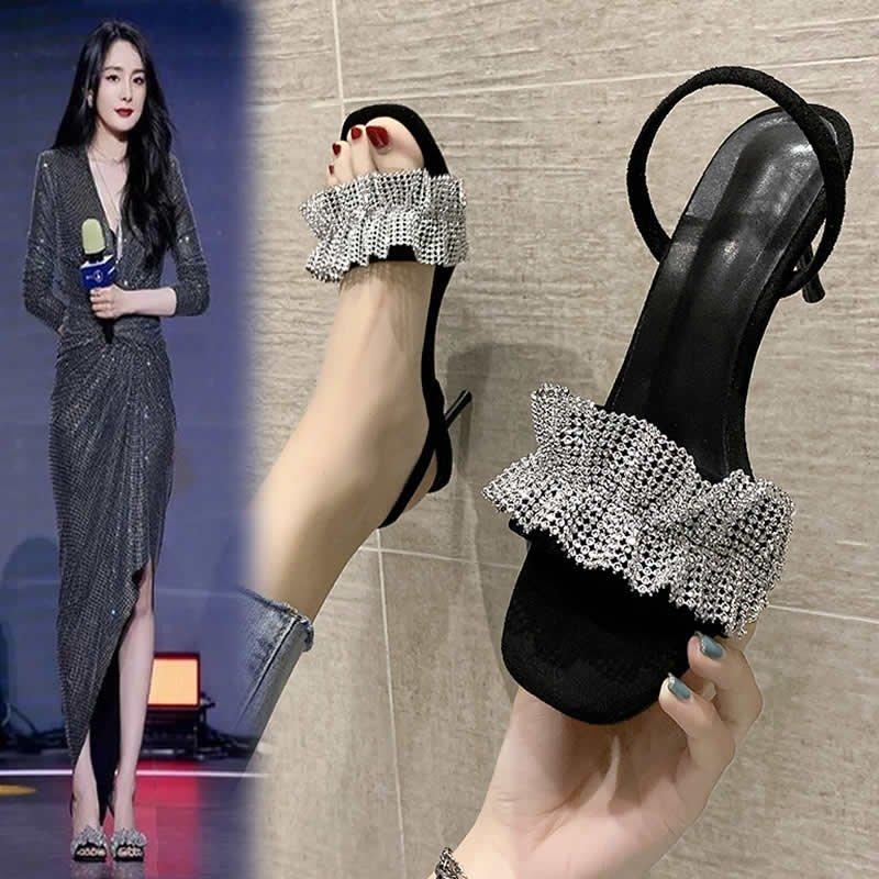 明星同款水钻方头凉鞋高跟鞋两穿细跟半拖鞋
