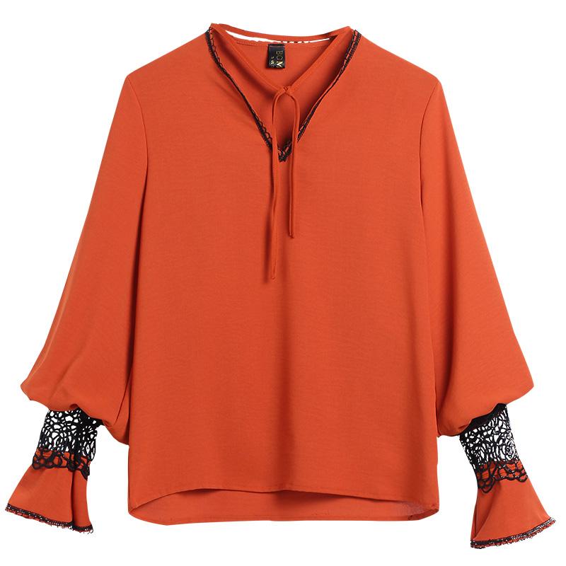 2018 mùa thu mới nữ giải phóng mặt bằng dài tay ren áo sơ mi nước ngoài khí nhỏ áo sơ mi chiffon áo sơ mi của phụ nữ áo sơ mi chiffon