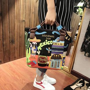 2019 новая девушка пакет ретро портативный сумка корейский ручной работы вышивка волна пакет творческий вышитый мешок