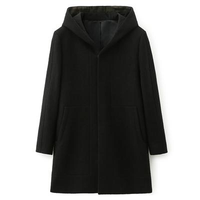 WOOG2005 nam màu đen dài tay áo mùa đông Hàn Quốc phiên bản của tự trồng len áo khoác lông Áo len