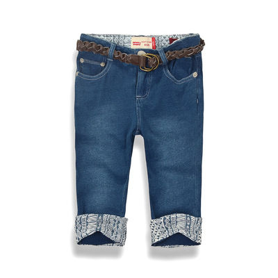 Cotton knit fabric children's clothing stretch denim pants girls curling hem jeans children 7 pants 2 color