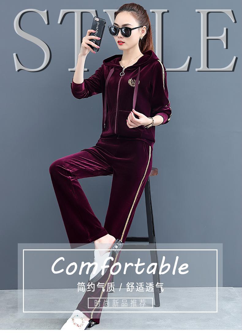 新款休閒时尚金丝绒运动套装卫衣女春秋薄款大尺码天鹅绒两件套详细照片