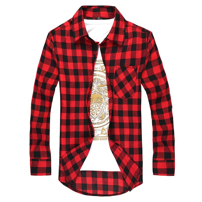 22dc06e028da 2019 Fashion Men S Long Sleeved Flannel Casual Plaid Shirt Men Checkered  Dress Shirts Slim Stylish From Hlq1025