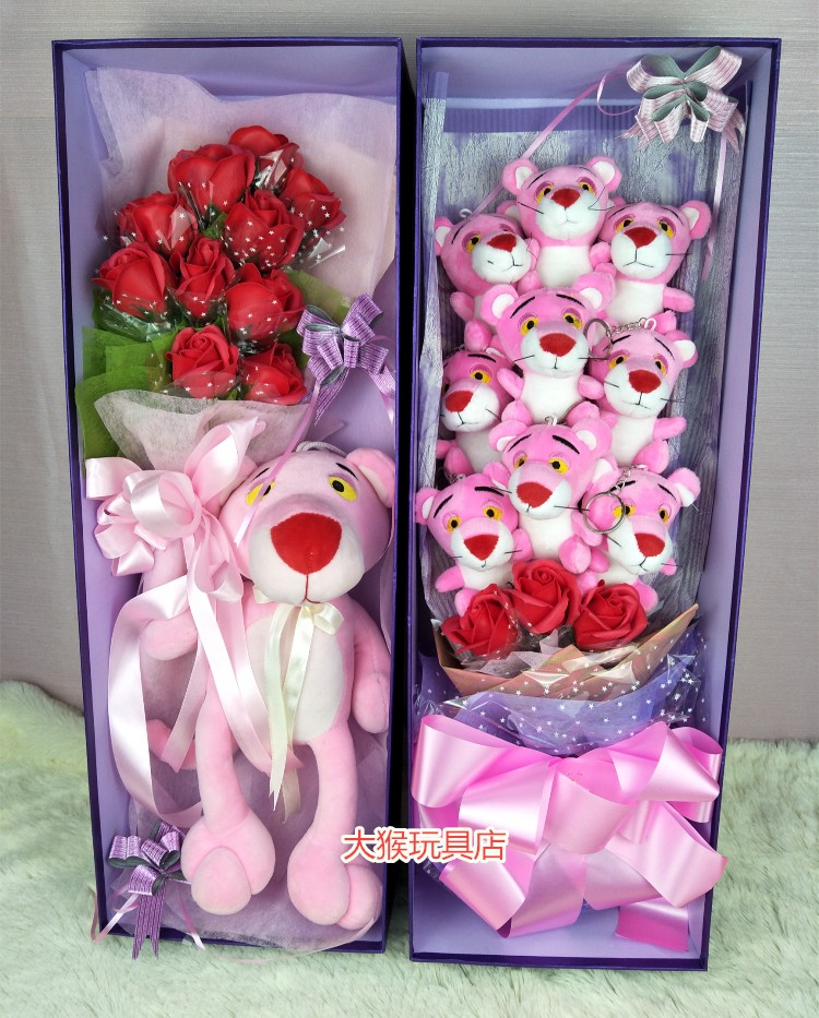 Cartoon bouquet gift box gift doll pink panther doll doll rose color classification 9 pink panther 3 soap flower with gift box 33 cm pink panther 12 soap flower with gift box 58 cm vest pink panther 3 flowers 4 doll mightylinksfo