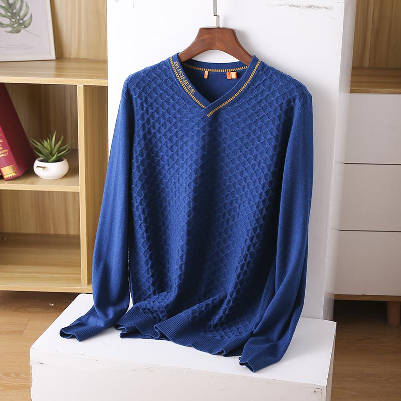 Thin sweater autumn chicken heart collar sweater new 2020 burst men's cut inside the men's bottom shirt V-neck top 52 Online shopping Bangladesh