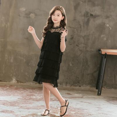 女童裙子短袖网红夏天薄款雪纺蛋糕裙胖女孩韩版洋气中大童连衣裙