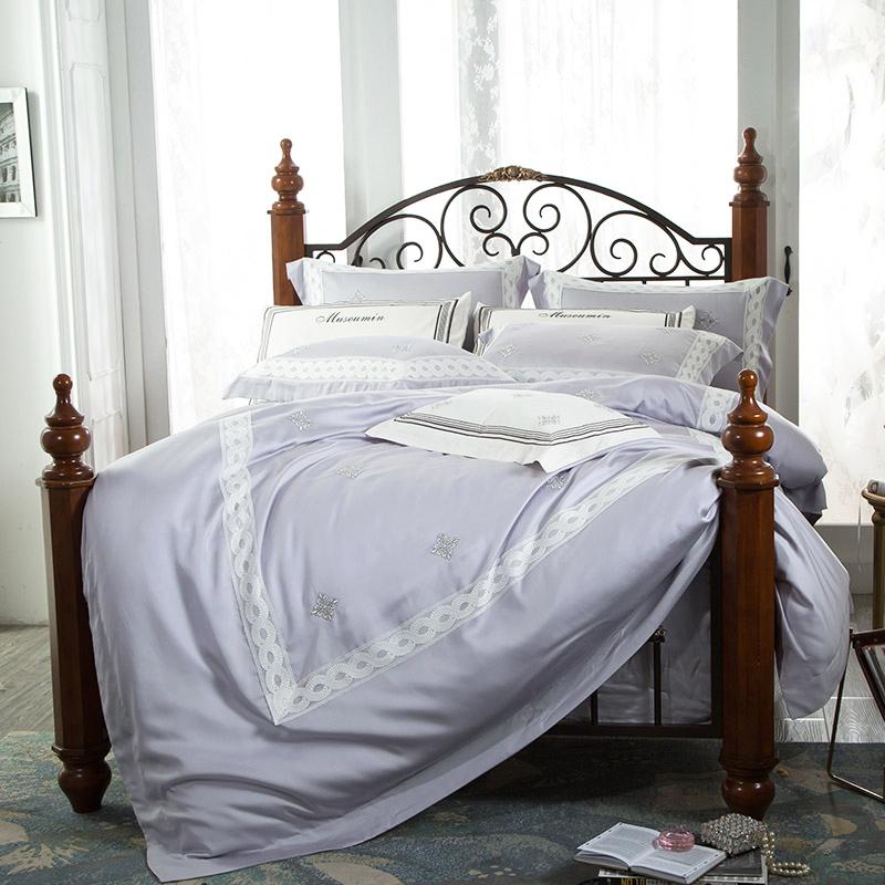 爱妮家纺夏季60支欧式天丝床上四件套欧美风宫廷刺绣床单四件套