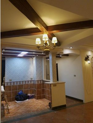 Shanghai farm teacher custom quality European ceiling fake wooden beam hollow wood strip wood beams holiday flower wall column