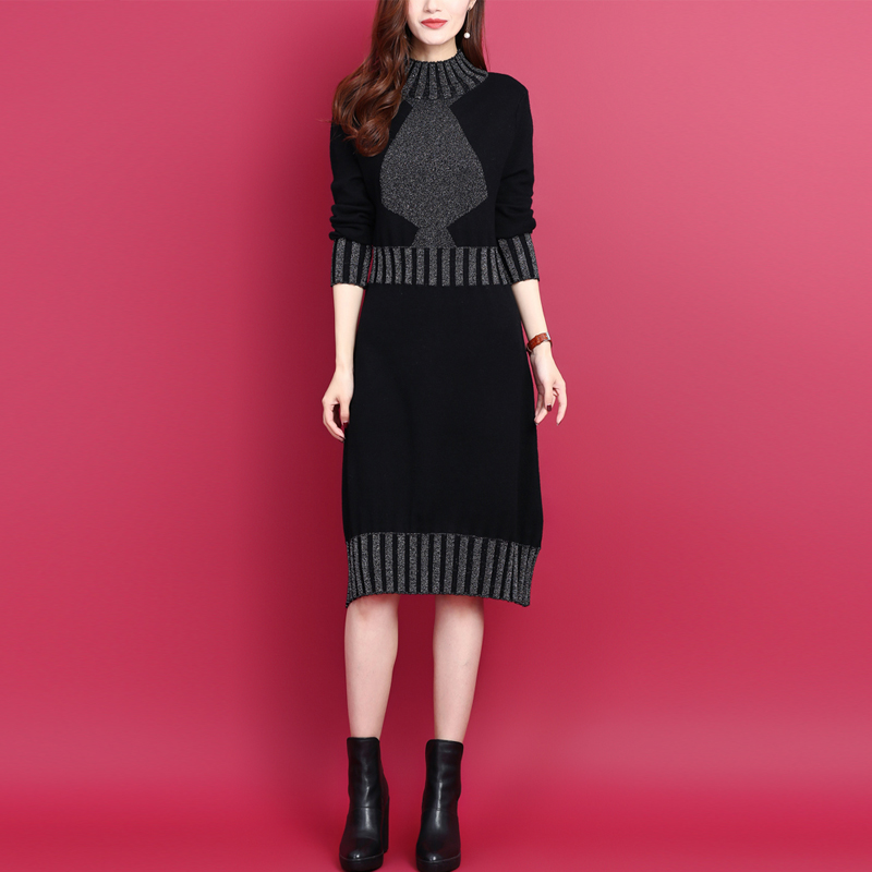 2021秋冬新款韩版打底亮丝时尚中长宽松显瘦羊毛气质针织连衣裙女