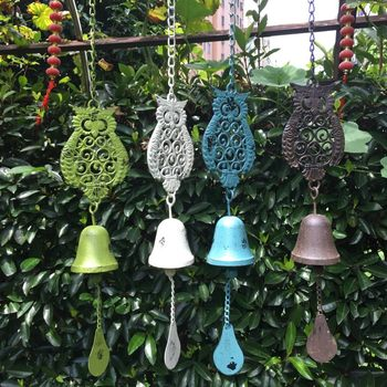 Liluo home cast iron owl wind chime pendant iron wind chime outdoor garden decoration gardening grocery quality