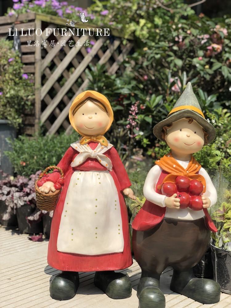 美式乡村花园景观庭院户外落地大摆件男孩女孩人物摆设幼儿园装饰详细照片