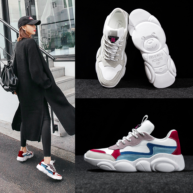 Essie Chen bear shoes female 2019 spring new net red ins small white old shoes Yamamoto sports shoes