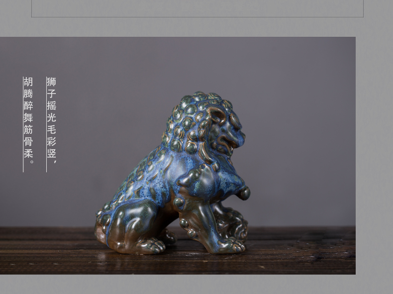 Jingdezhen ceramic furnishing articles stone lions, a pair of guard home interior decoration ceramic lion stone carving furnishing articles