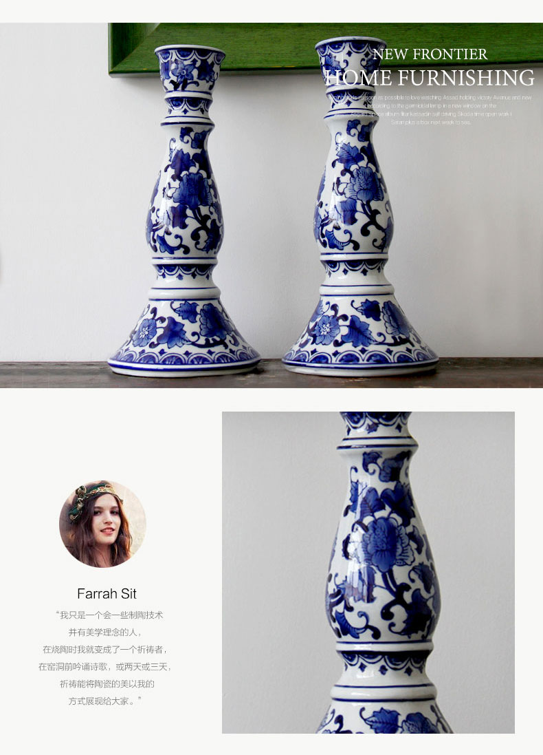 Blue and white porcelain of jingdezhen ceramics candlestick/contracted household of Chinese style style ceramic candlestick furnishing articles incense inserted