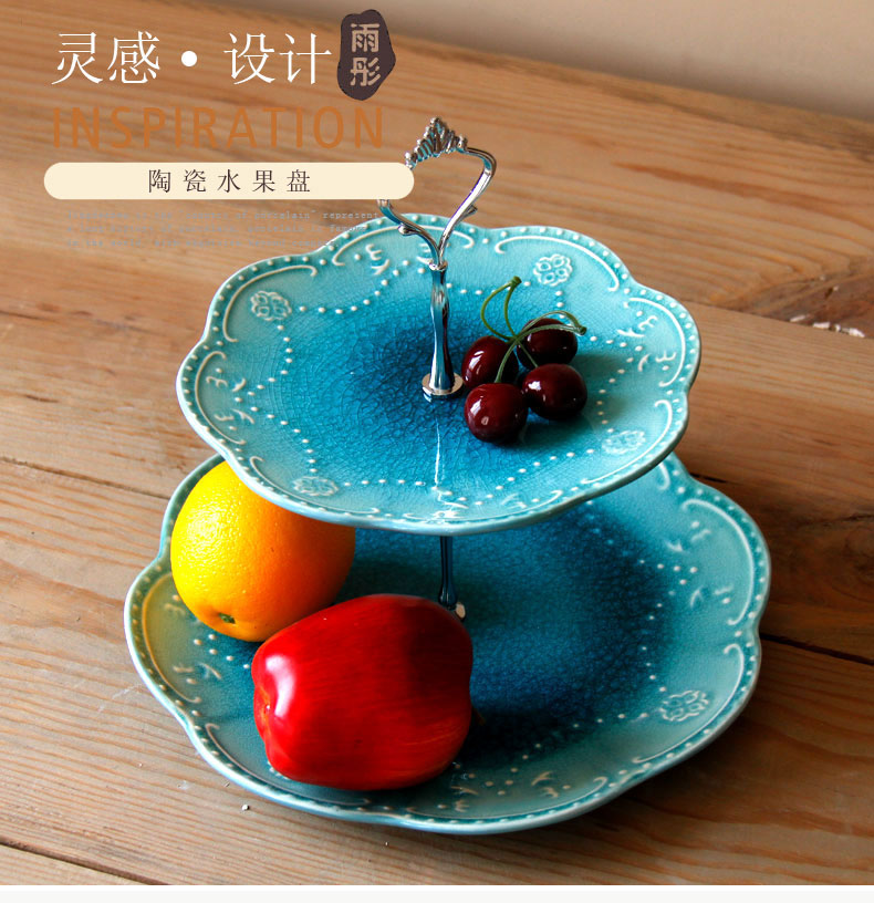 Continental ice crack glaze ceramic double compote creative I sitting room key-2 luxury home afternoon tea tea table plate