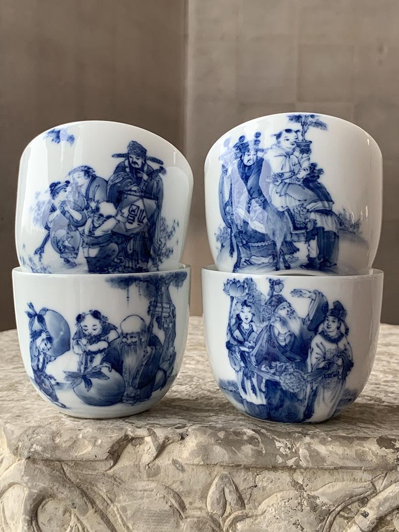 Jingdezhen nine wonderful hand burn hand - made porcelain nine paragraphs ferro, ShouXi cup qianlong chicken cylinder cup