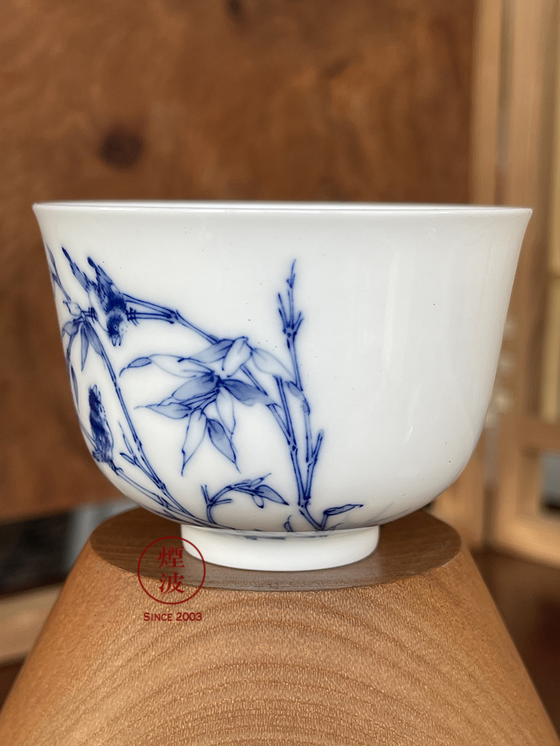 Jingdezhen blue and white flower on bamboo nine calcinations hand - made porcelain hand cup cup sample tea cup