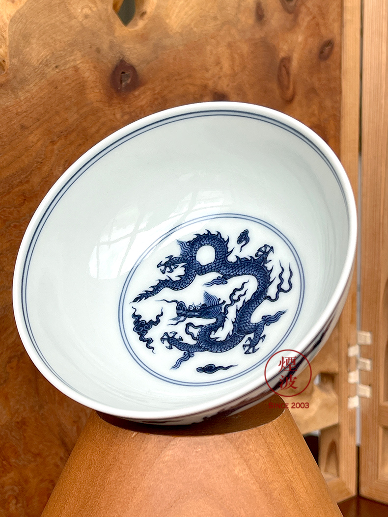 Jingdezhen spring auspicious jade Zou Jun up and imitation Ming blue and white skeleton painting of eight new system flat bowl bowl