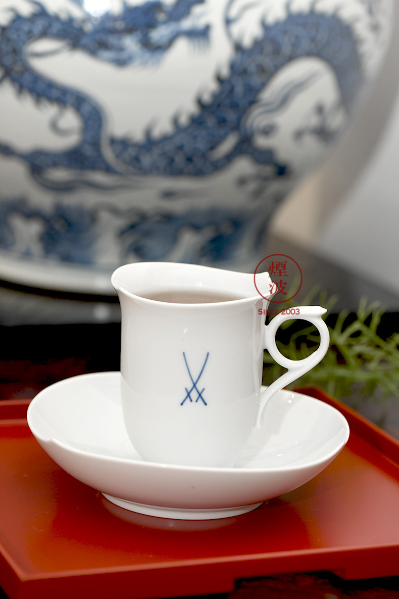 German MEISSEN porcelain mason magic white blue waves shuangjian coffee cup cup dish in the afternoon