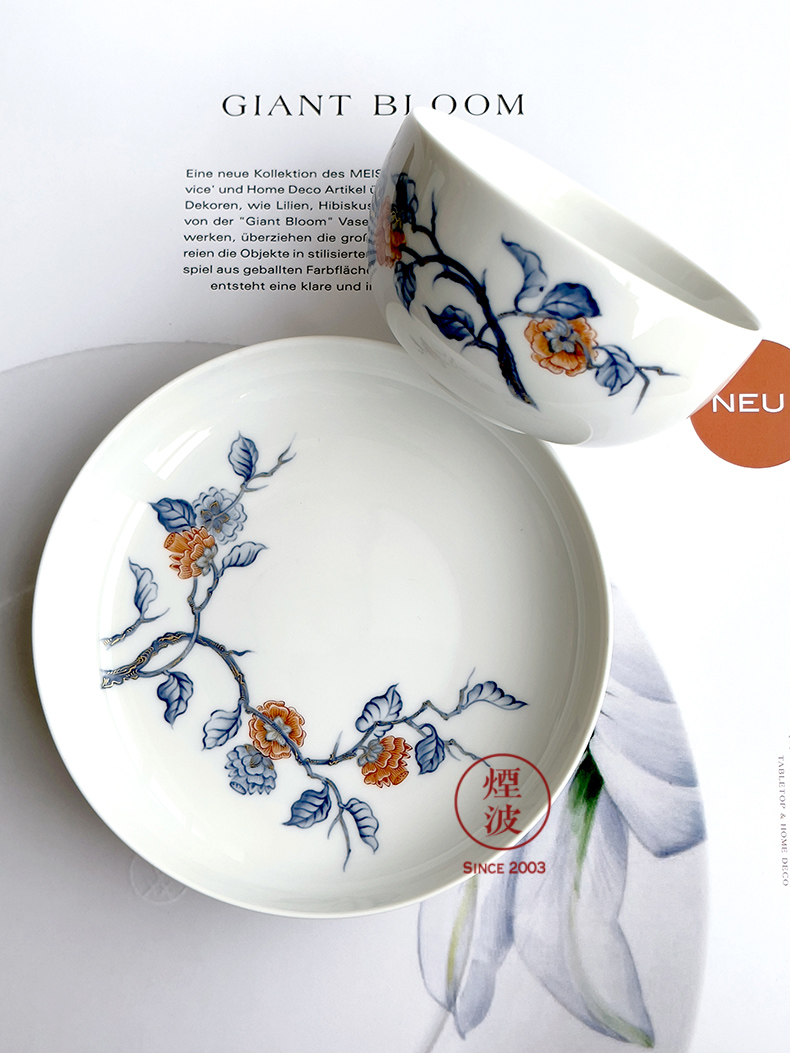 German MEISSEN porcelain mason persimmon right - back coloured drawing or pattern paint Chinese tea cup dish aristocrats