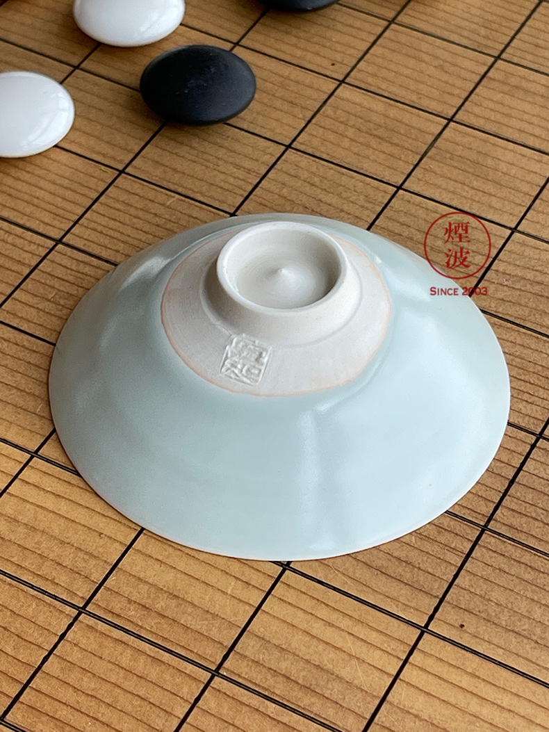Said 49-year-old kyoko, Japan, the I international ceramic art master deep see instructions Song Yunqing white porcelain shadow blue swallow your porcelain hat to soup