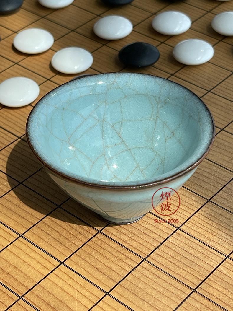 Said 49-year-old kyoko, Japan, the I ceramic art master protostome ZhuoShi Song Yun powder green China ice cracked hat to light