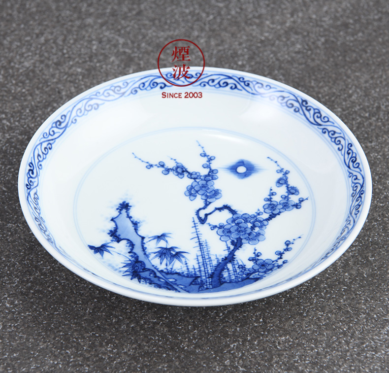 Jingdezhen lesser RuanDingRong made lesser money name plum flower pot bearing dry mercifully tea saucer