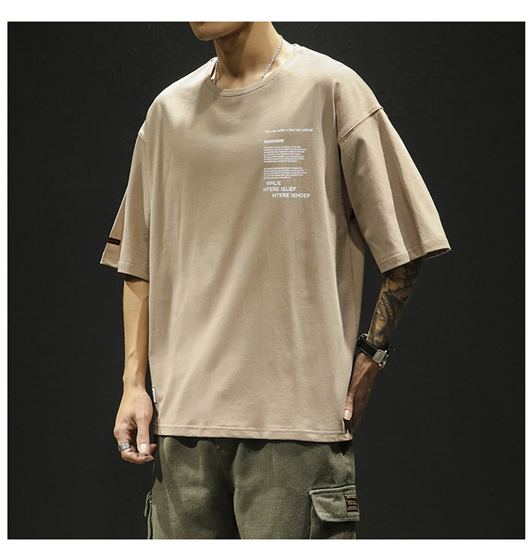 短袖t恤男潮流半截袖男生上衣服韩版五分袖打底衫体恤DS345TP25