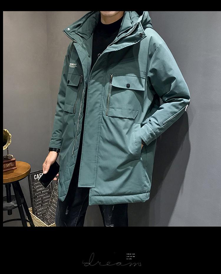 2019冬季新款加厚外套工装中长款拉链口袋羽绒服男装DS594TP255