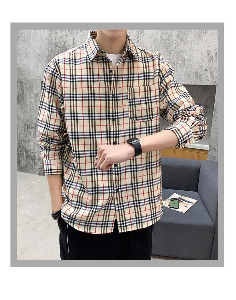 长袖衬衫男士日系宽松格子休闲衬衣2020春季潮牌外套DS683TP35