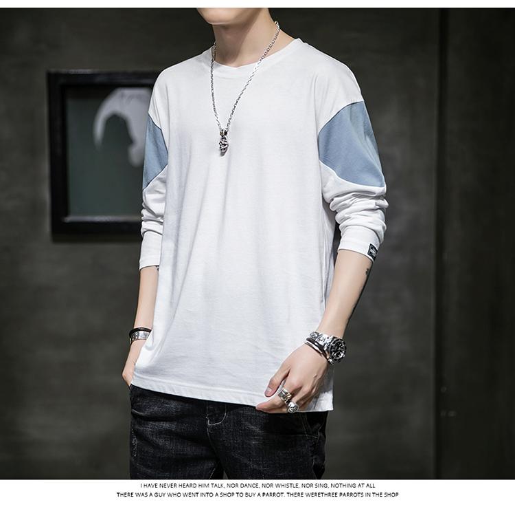 【已质检】春季男士长袖T恤2020新款潮流纯棉打底衫DS693TP25