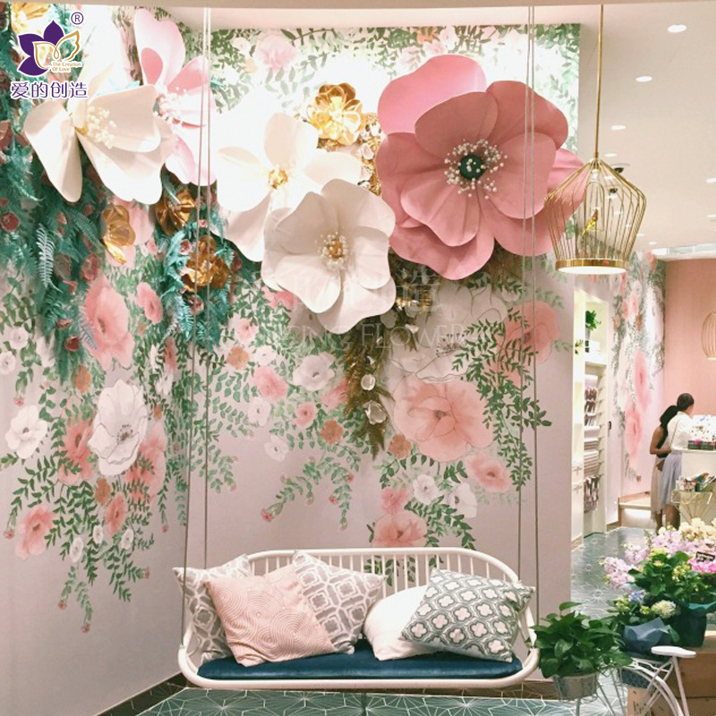 USD 5.22] Paper flower decoration props window indoor shopping mall ...