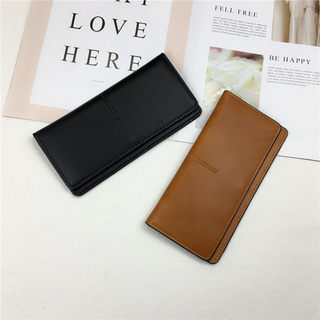 ins wallet female long section 2021 new Japanese and Korean simple ultra-thin wallet fashion retro solid color buckle long card bag