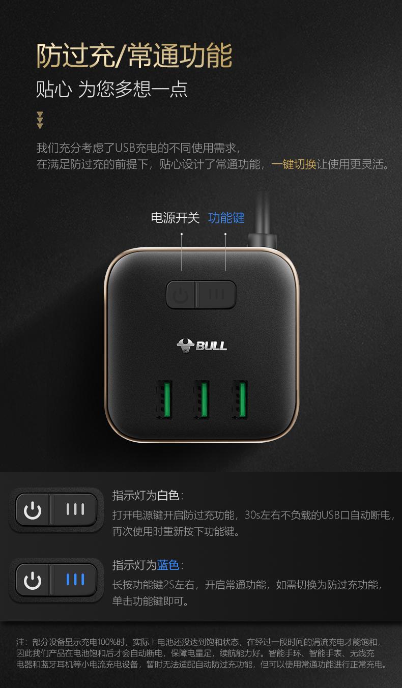 公牛高端魔方插座充满自动断电USB