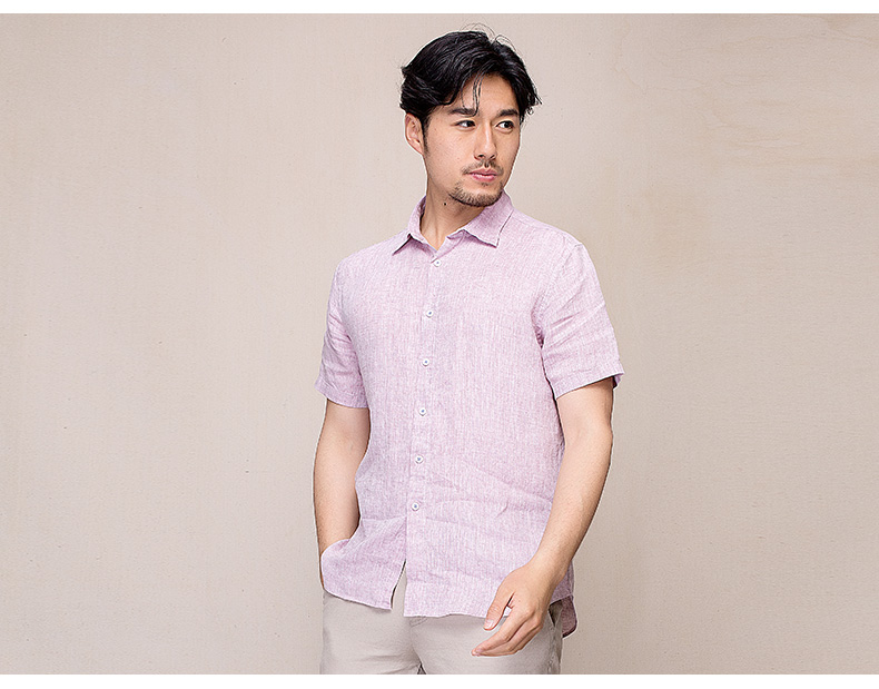 Hanp han ma gia đình nam thanh niên thường áo sơ mi nam ngắn tay áo sơ mi lanh màu áo sơ mi vuông cổ áo sơ mi cổ trụ