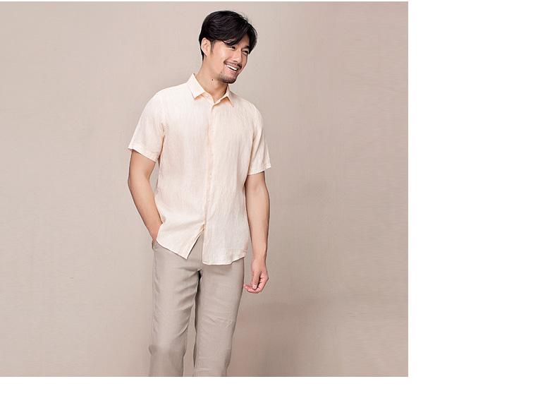 Hanp han ma shi bông người đàn ông giản dị áo sơ mi nam mỏng ngắn tay áo sơ mi màu rắn lỏng lanh thường xuyên áo sơ mi ngắn tay nam