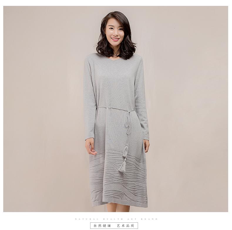 Hanp cây gai dầu gia đình v- cổ len đan đầm trong phần dài của ôm đầm một mảnh váy đầm