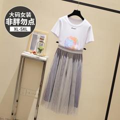 9302【实拍】【附加视频】大码女装胖mm新款半身裙网纱胖妹妹套装