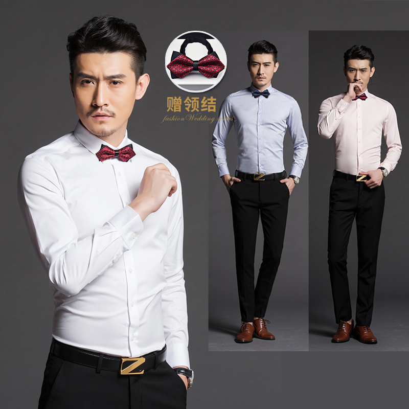 d5be2965bca9 Best Man costume male brother outfit dress wedding white shirt suit long  sleeve slim groom wedding dress