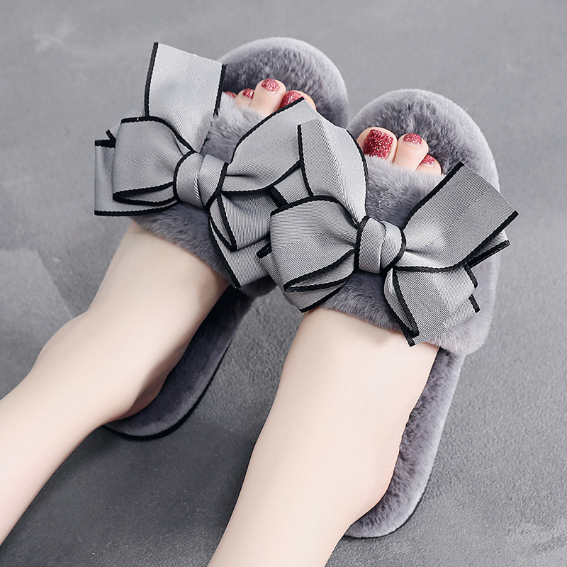 FLEECE SLIPPERS 3 COLOR BOW GREY