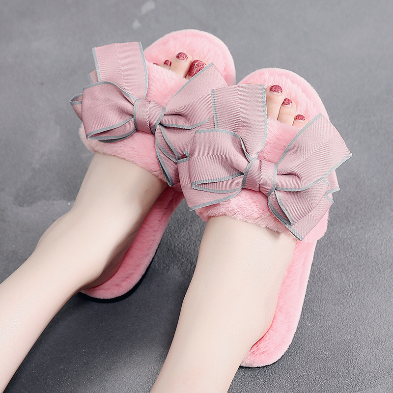 FLEECE SLIPPERS 3 COLOR BOW PINK